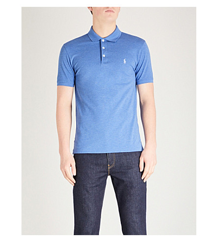 POLO RALPH LAUREN Logo embroidered cotton-jersey polo shirt (Deco+blue+heather