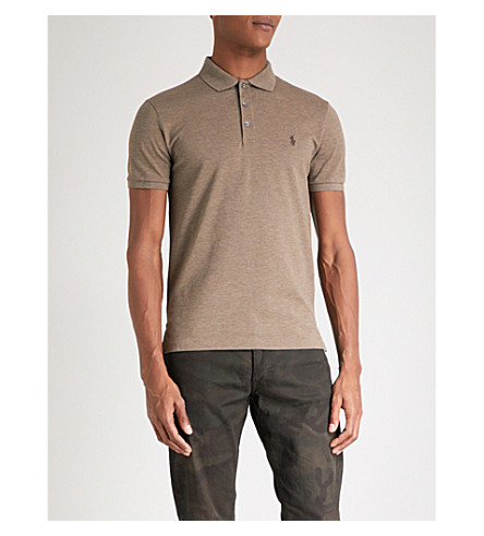 POLO RALPH LAUREN Slim-fit cotton-pique polo shirt (Partridge+heather
