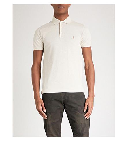 POLO RALPH LAUREN Slim-fit cotton-pique polo shirt (New+sand+heather