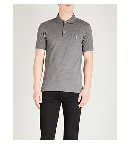 POLO RALPH LAUREN Logo embroidered cotton-jersey polo shirt (Foster+grey+heather
