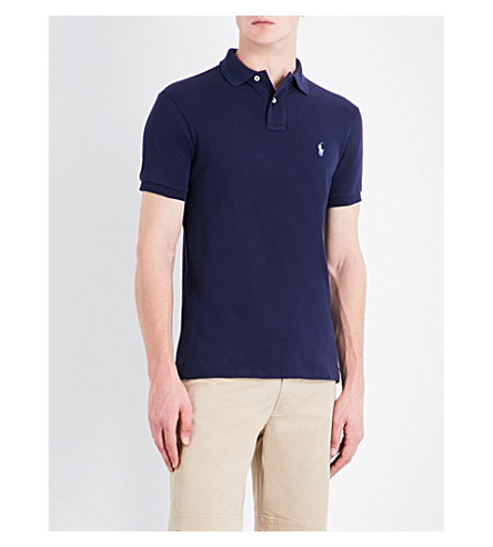 POLO RALPH LAUREN Slim-fit cotton-pique polo shirt (Newport+navy