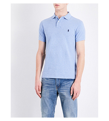 POLO RALPH LAUREN Slim-fit cotton-pique polo shirt (Jamaica+heather