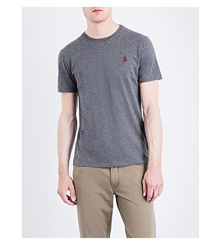 POLO RALPH LAUREN Pony-motif custom slim-fit cotton-jersey T-shirt (Stadium+grey+he