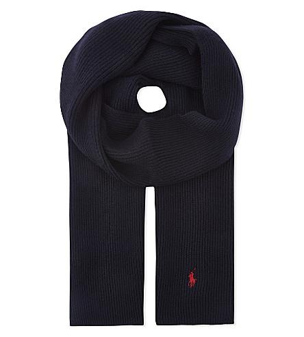 POLO RALPH LAUREN Ribbed wool scarf (Hunter+navy