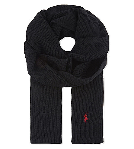 POLO RALPH LAUREN Ribbed wool scarf (Polo+black