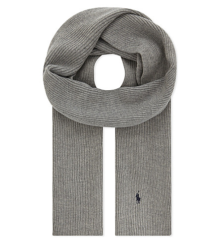 POLO RALPH LAUREN Ribbed wool scarf (Fawn+grey+heather