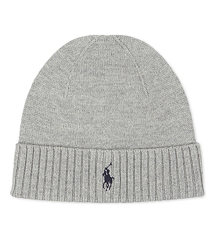 POLO RALPH LAUREN Embroidered logo wool hat (Fawn+grey+heather