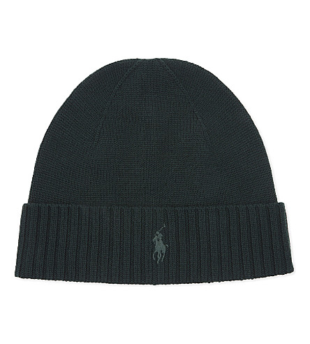 POLO RALPH LAUREN Pony knitted wool beanie (Landmark+green