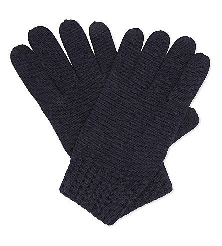 POLO RALPH LAUREN Embroidered logo wool gloves (Hunter+navy