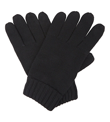 POLO RALPH LAUREN Embroidered logo wool gloves (Polo+black