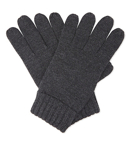 POLO RALPH LAUREN Embroidered logo wool gloves (Dark+granite+heather