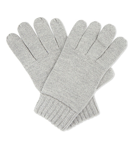 POLO RALPH LAUREN Embroidered logo wool gloves (Fawn+grey+heather