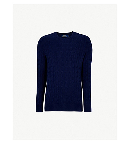 POLO RALPH LAUREN Cable-knit cashmere jumper (Bright+navy