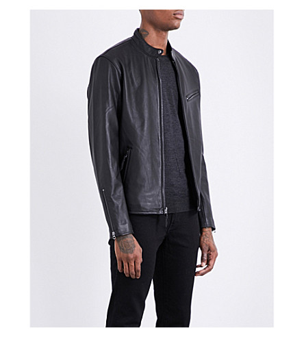 POLO RALPH LAUREN Café Racer leather jacket (Polo+black