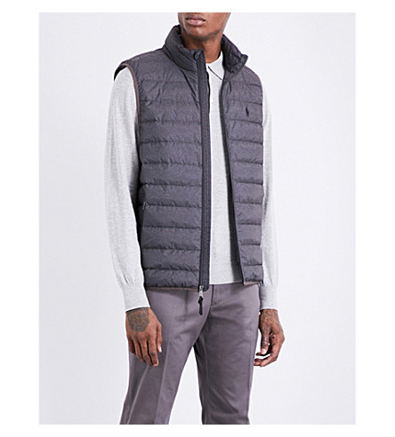 POLO RALPH LAUREN Packable marl shell-down gilet (Windsor+heather