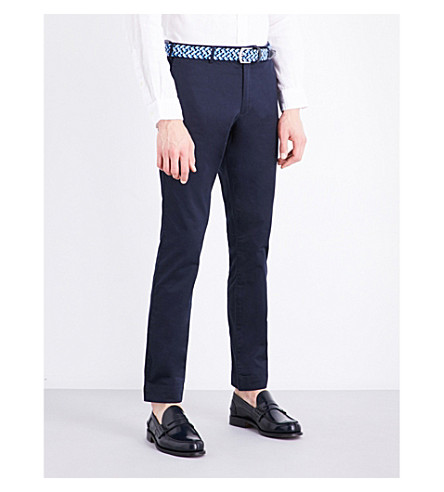 POLO RALPH LAUREN Slim-fit tapered stretch-cotton trousers (Aviator+navy