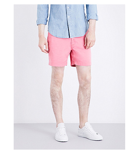 POLO RALPH LAUREN Classic-fit mid-rise stretch-cotton shorts (Pale+red