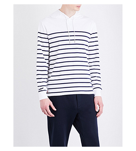 POLO RALPH LAUREN Striped cotton hooded top (White/newport+n