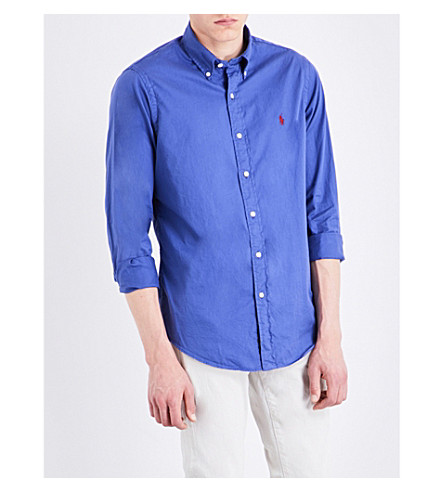 POLO RALPH LAUREN Slim-fit cotton shirt (Charter+blue