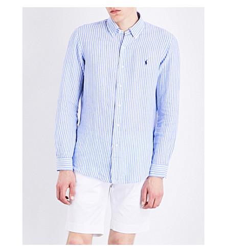 POLO RALPH LAUREN Pinstripe-print regular-fit linen shirt (1572b+cobalt+bl