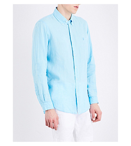 POLO RALPH LAUREN Logo-embroidered regular-fit linen shirt (French+turquois