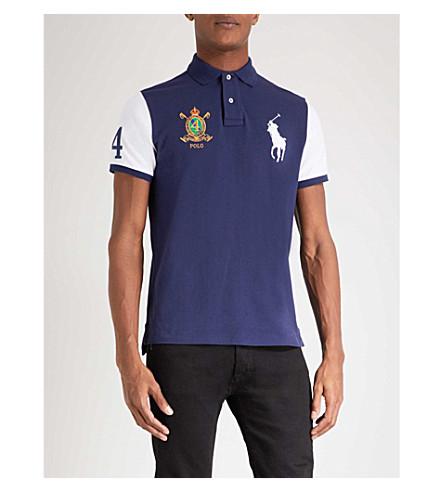 POLO RALPH LAUREN Slim-fit cotton-pique polo shirt (Newport+navy+multi