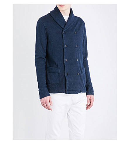 POLO RALPH LAUREN Double-breasted knitted jacket (Dark+indigo