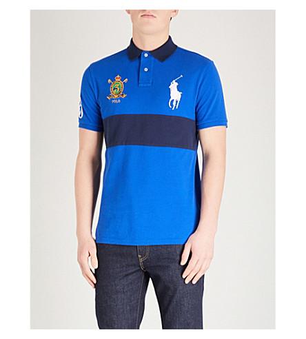 POLO RALPH LAUREN Logo embroidered cotton-mesh polo shirt (Sapphire+star/nvy