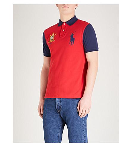 POLO RALPH LAUREN 徽标刺绣棉质珠地布 Polo 衫 (Rl+2000+red/newport+navy