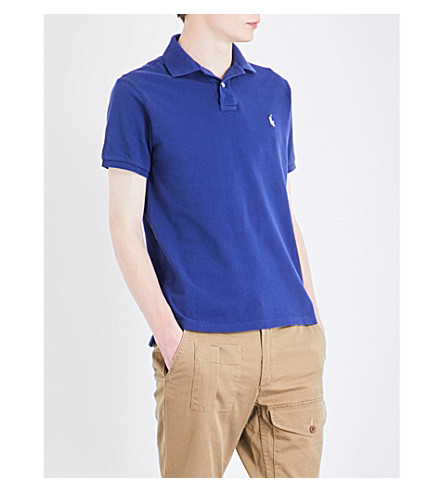 POLO RALPH LAUREN Logo-embroidered cotton-piqué polo shirt (Yale+blue