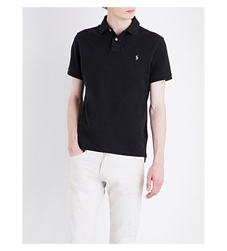POLO RALPH LAUREN Logo cotton-piqué polo shirt (Polo+black