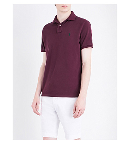 POLO RALPH LAUREN Logo-embroidered custom slim-fit cotton-mesh polo shirt (Classic+burgund