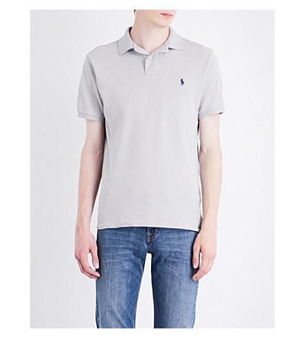 POLO RALPH LAUREN Logo cotton-piqué polo shirt (Silver+smoke