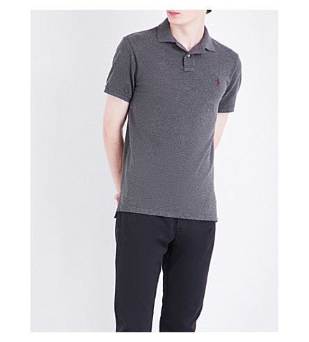 POLO RALPH LAUREN Logo-embroidered custom slim-fit cotton-mesh polo shirt (Stadium+grey+he