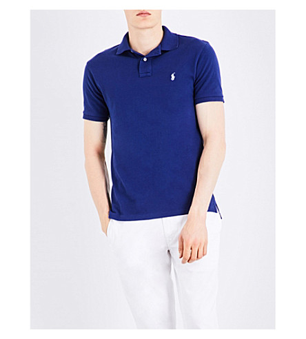 POLO RALPH LAUREN Slim-fit cotton-piqué polo shirt (Yale+blue