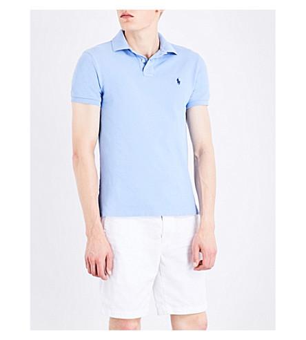 POLO RALPH LAUREN Slim-fit cotton-piqué polo shirt (Kent+blue