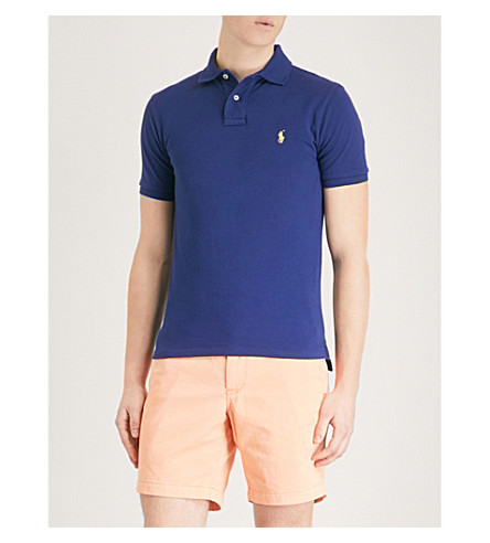 POLO RALPH LAUREN Slim-fit cotton-piqué polo shirt (Fall+royal/sp18