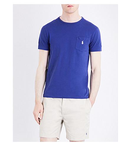 POLO RALPH LAUREN Custom-fit logo-detail cotton-jersey T-shirt (Yale+blue