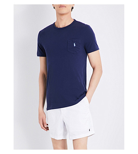 POLO RALPH LAUREN Logo-embroidered pocket cotton-jersey T-shirt (Newport+navy