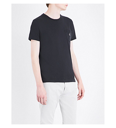 POLO RALPH LAUREN Logo-embroidered pocket cotton-jersey T-shirt (Polo+black