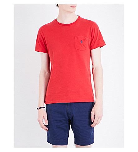 POLO RALPH LAUREN Logo-embroidered pocket cotton-jersey T-shirt (Martin+red