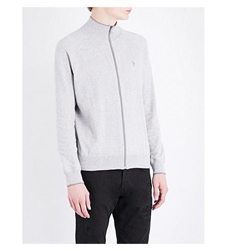 POLO RALPH LAUREN Zip-up cotton cardigan (Cool+grey+heath