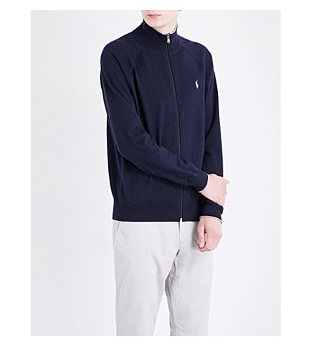 POLO RALPH LAUREN Zipped cotton-jersey fleece (Hunter+navy