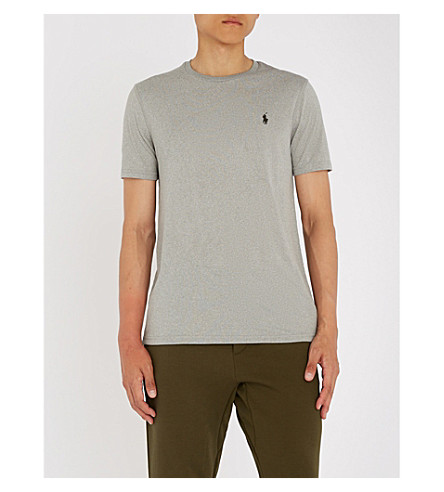 POLO RALPH LAUREN Embroidered logo woven-jersey T-shirt (Andover+heather