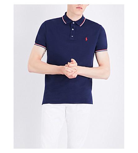 POLO RALPH LAUREN Logo-embroidered cotton-piqué polo shirt (Cruise+navy