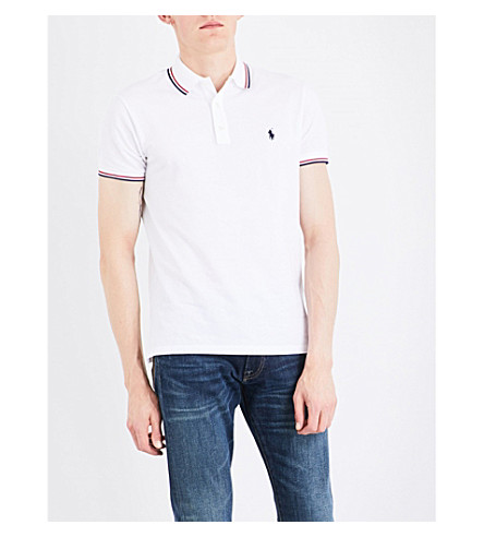 POLO RALPH LAUREN Custom-fit cotton-mesh polo shirt (White
