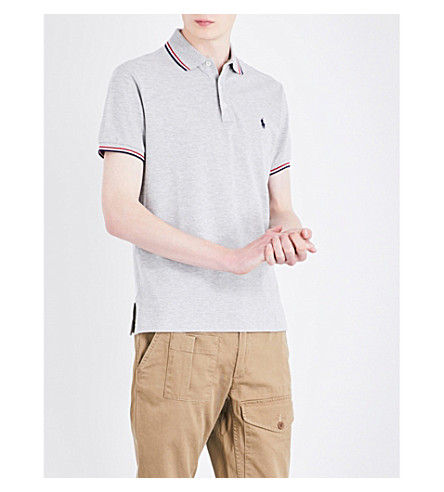 POLO RALPH LAUREN Logo-embroidered cotton-piqué polo shirt (Spring+heather