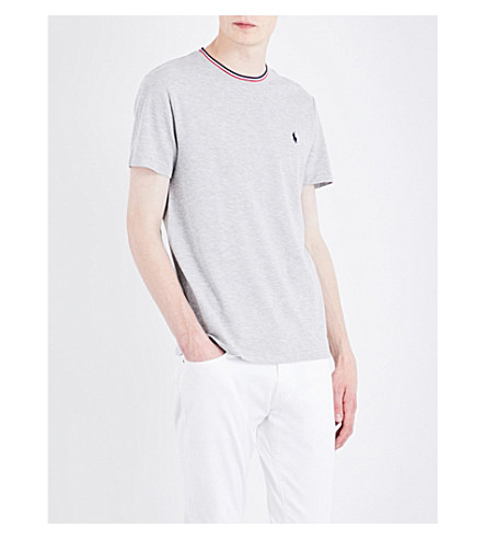 POLO RALPH LAUREN Striped-trim cotton-piqué T-shirt (Spring+heather