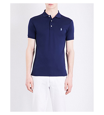 POLO RALPH LAUREN Logo-embroidered knitted polo shirt (Newport+navy