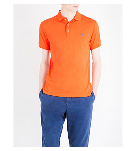 POLO RALPH LAUREN Logo-embroidered slim-fit cotton polo shirt (May+orange